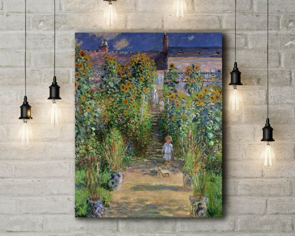 Monet: The Artist's Garden at Vethueil. Fine Art Canvas.